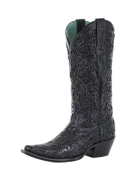 Corral Womens Black Full Inlay Snip Toe Cowgirl Boot G1417