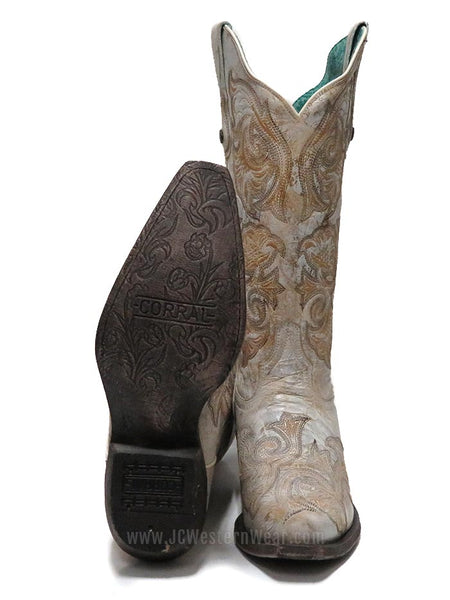 Corral Women's Floral Embroidered White Snip Toe Western Boot G1510 Front and Bottom