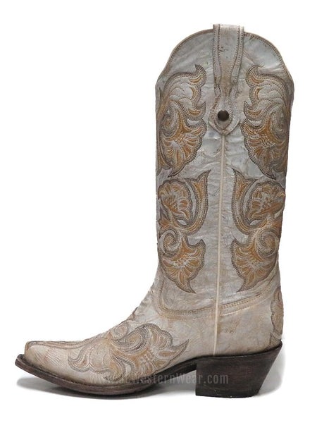 Corral Women's Floral Embroidered White Snip Toe Western Boot G1510 Side View