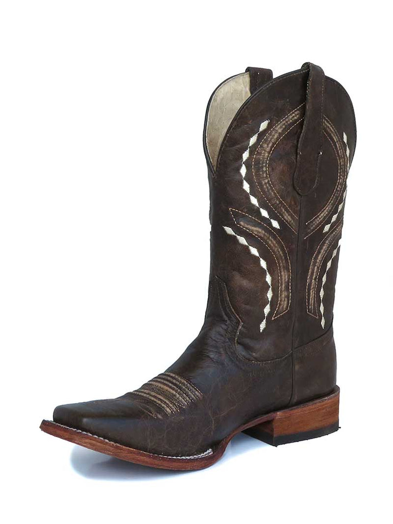 Circle G L5399 Mens Brown Embroidery Square Toe Western Boots Brown