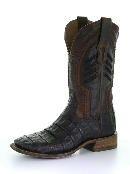 Corral A3878 Mens Caiman Embroidery Woven Square Toe Boots Oil Brown