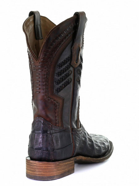 Corral A3878 Mens Caiman Embroidery Woven Square Toe Boots Oil Brown Back