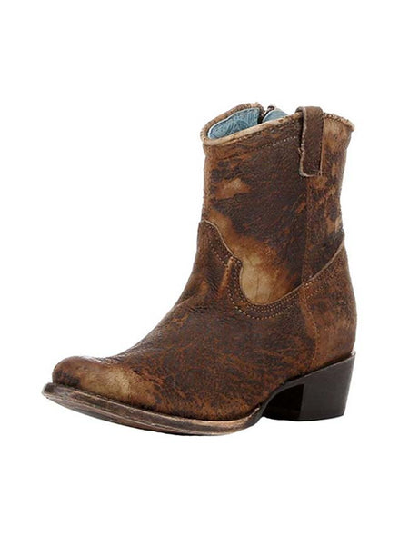 Corral C1064 Ladies Lamb Abstract Short Top Boots Chocolate Tan