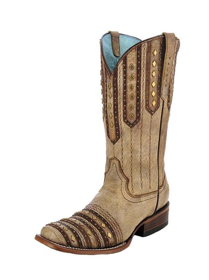 Corral C2991 Womens Embroidery Studded Patch Square Toe Boots Tan