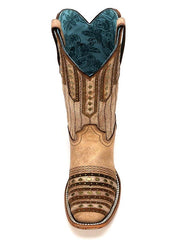 Corral Tan Embroidery Studded Patch Square Toe Cowgirl Boots C2991