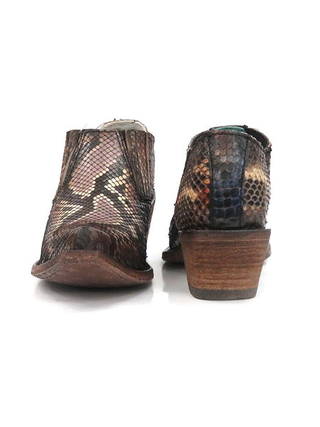 Corral Womens Handcrafted Exotic Blue Python Boots C3454 Front and Back