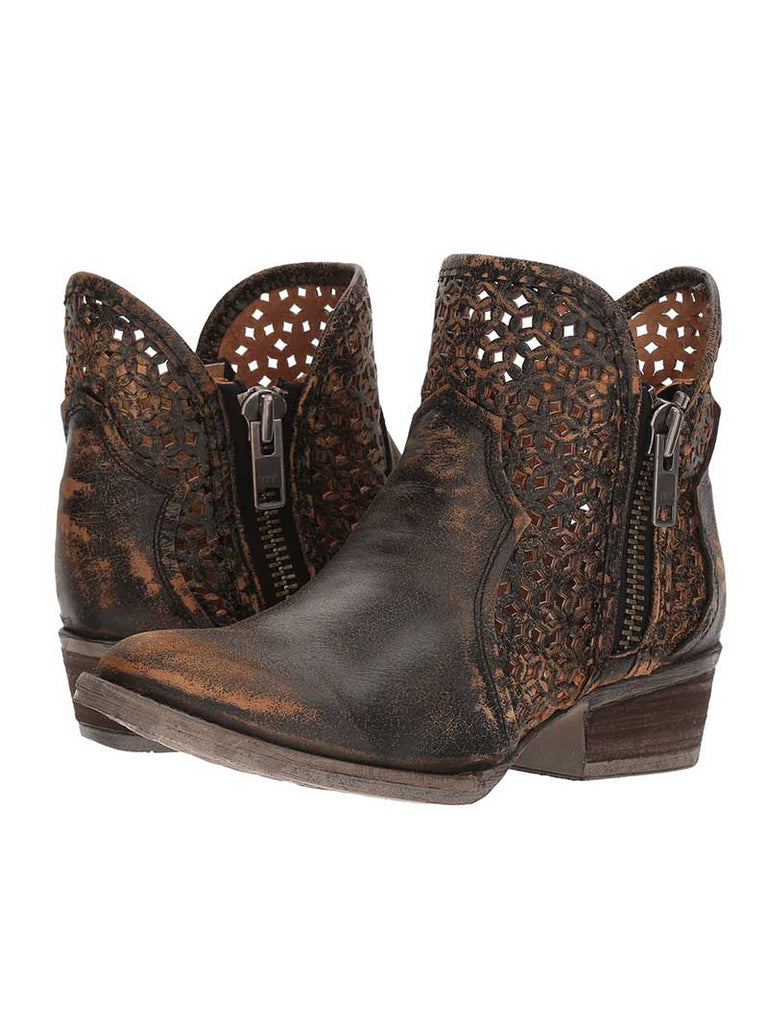 Circle G by Corral Ladies Black//Yellow Cutout Bootie Q5021