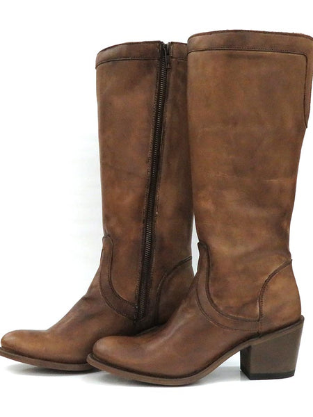 Corral E1497 Womens Overlay J-Toe Zipper Tall Boot Caramel