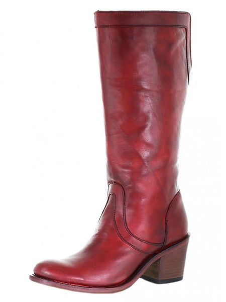 Corral E1499 Womens Overlay J-Toe Zipper Tall Boot Burgundy