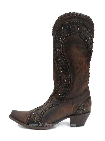 Corral Womens Overlay Woven Crystals Studded Cowgirl Boot E1539 Side