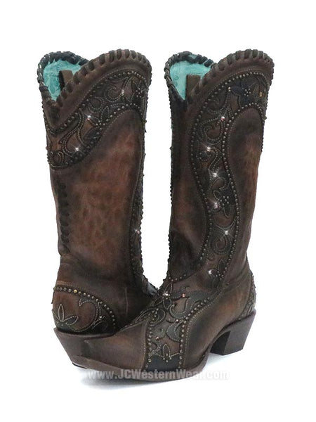 Corral Womens Overlay Woven Crystals Studded Cowgirl Boot E1539 A Pair