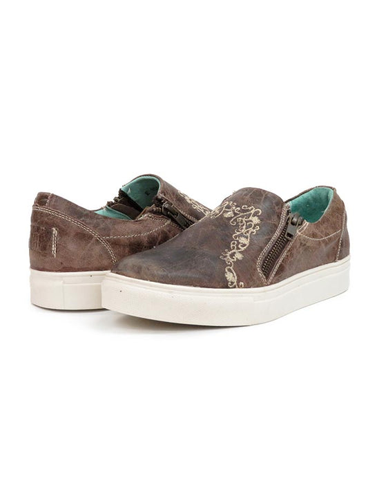 Corral Womens Floral Embroidery Brown Zipper Sneaker E1551 front and back