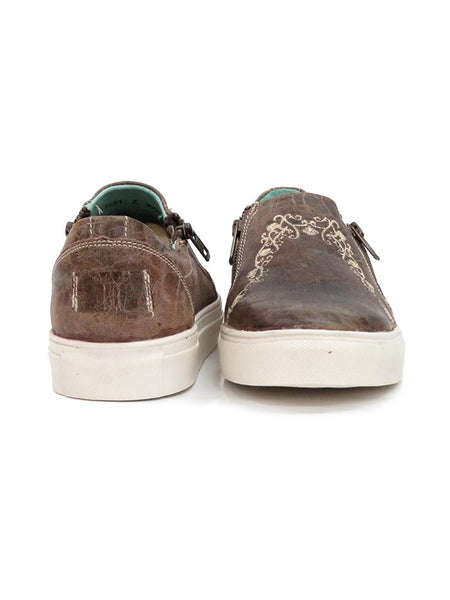 Corral Womens Floral Embroidery Brown Zipper Sneaker E1551 back and front