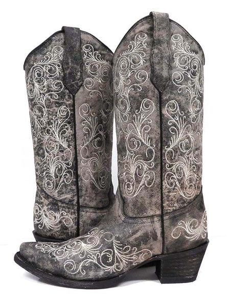 Circle G Womens Grey Metallic Embroidery Snip Toe Boots L5419