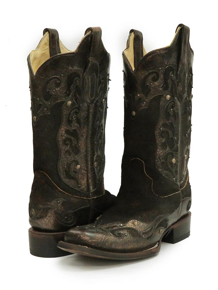 Women's Corral Distressed Brown Inlay Cowgirl Boots R1304 pair