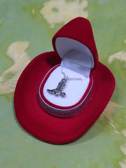 Cowboy Boot Necklace with Cowboy Hat Gift Box HN-1410 Red