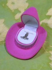 Cowboy Boot Necklace with Cowboy Hat Gift Box HN-1410 Pink