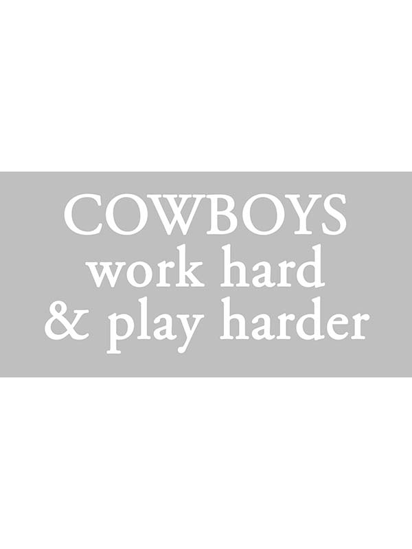 "Cowboys Work Hard Bumper Decal Sticker - 12"" X 6"""