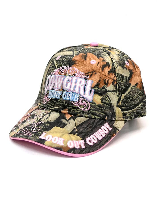 WFA CCAMO2 Ladies Cowgirl Hunt Club Embroidered Cap Camo Side Front