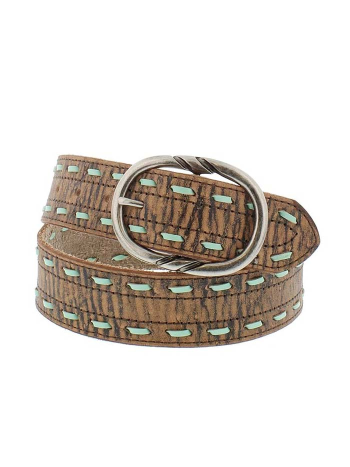 Cowgirl Rock Ladies Distressed Tan Buffalo Belt with Lacing 9619300