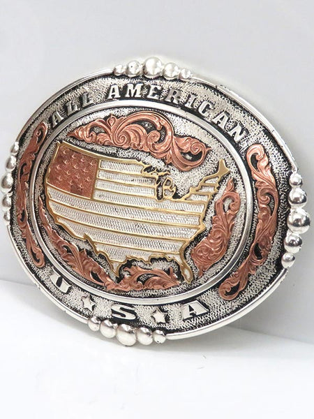 Crumrine Large Oval All American 2-Tone Belt Buckle C10100 on display