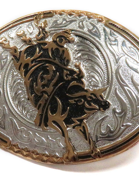 Crumrine Oval Bull Rider Belt Buckle C10800 Close-up