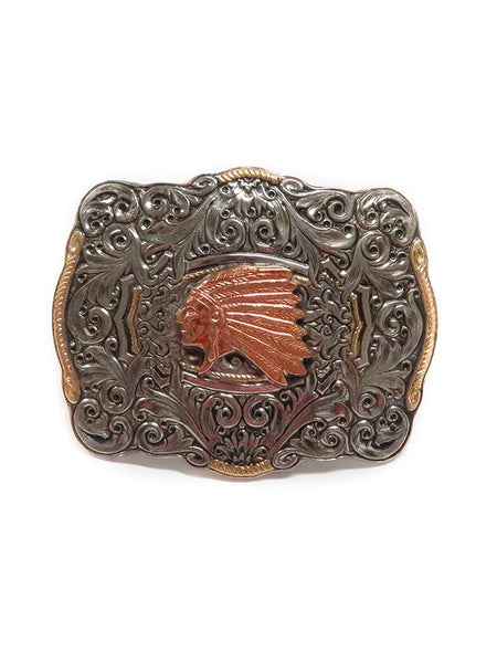 Crumrine Boxed Indian Chief Belt Buckle C10152 Front