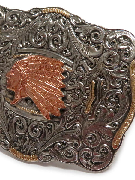 Crumrine Boxed Indian Chief Belt Buckle C10152