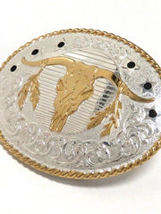 Crumrine Oval Longhorn Skull 2-Tone Belt Buckle C10610 close up