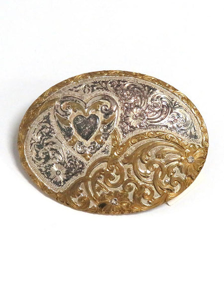 Crumrine Oval 2-Tone Heart Western Filigree Belt Buckle C10705 Front