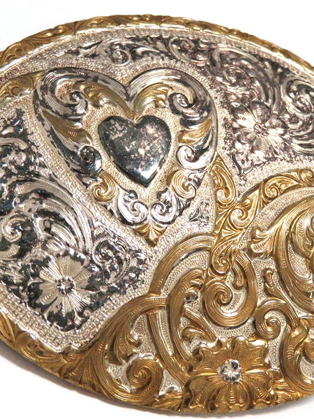 Crumrine Oval 2-Tone Heart Western Filigree Belt Buckle C10705 close up