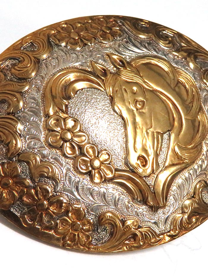 Crumrine Oval 2-Tone Horse and Heart Filigree Western Belt Buckle C10720 front