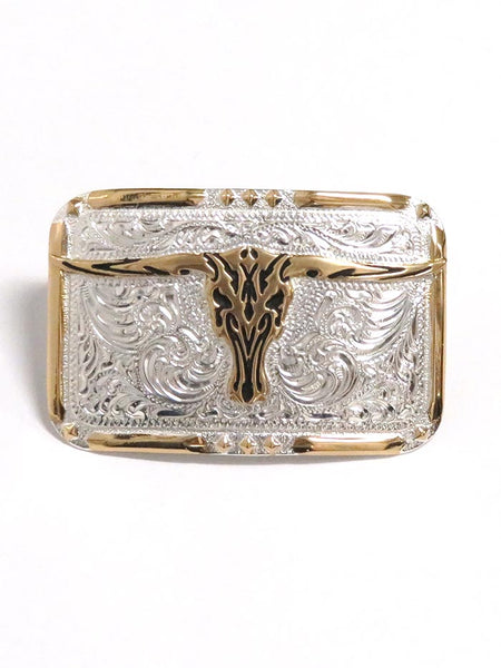 Crumrine Rectangle Longhorn Skull 2-Tone Belt Buckle C10810 Front