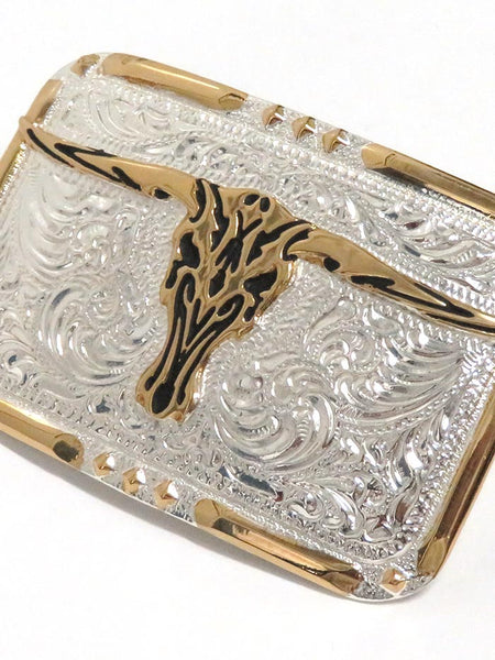 Crumrine Rectangle Longhorn Skull 2-Tone Belt Buckle C10810 close up