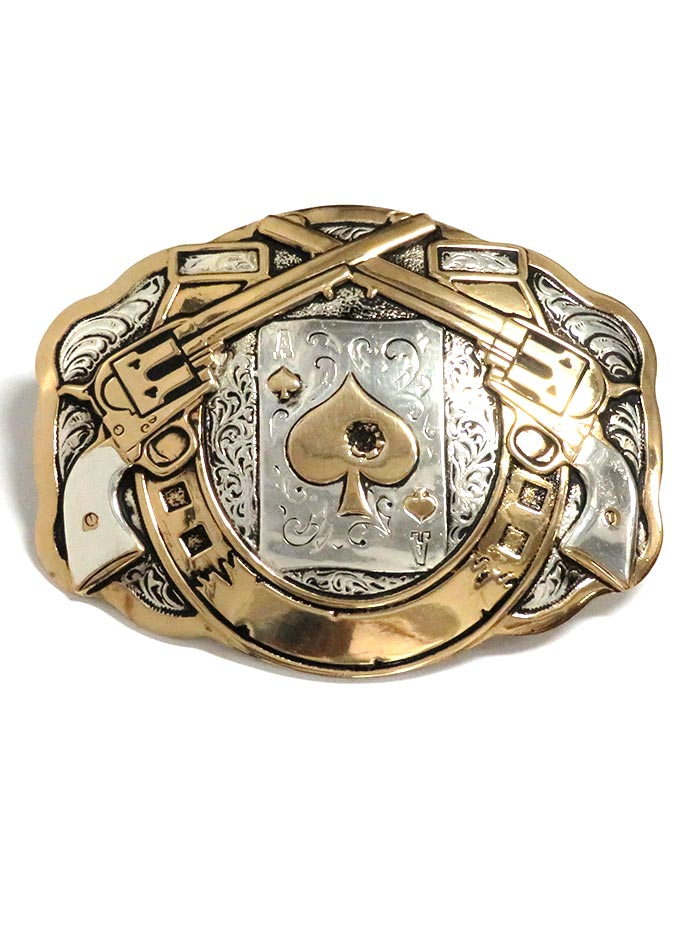 Crumrine Large Scallop Horseshoe and Poker 2-Tone Cowboy Belt Buckle C11259 Front