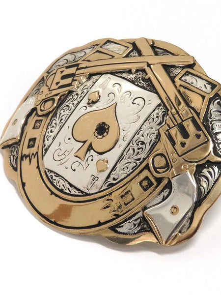 Crumrine Large Scallop Horseshoe and Poker 2-Tone Cowboy Belt Buckle C11259 close up