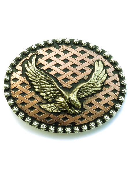 Crumrine Oval Berry Edge Basketweave Soaring Eagle Buckle 252000