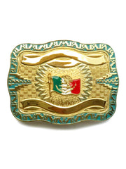 Crumrine 22K Large Patriotic Mexico Flag Belt Buckle 252022