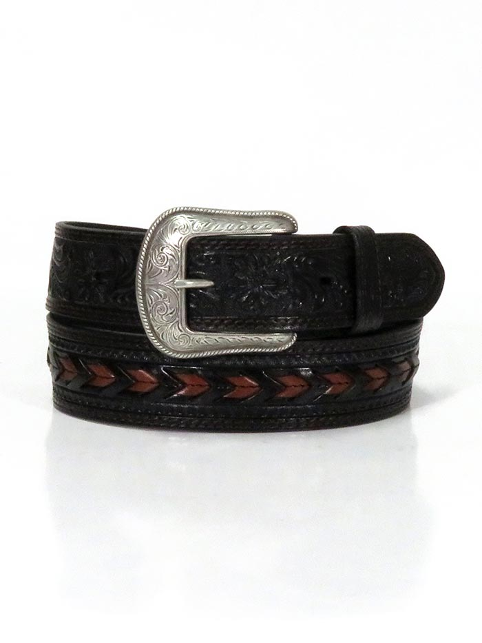 3D D7420 Mens Brown Chevron Lacing Western Leather Belt Black fRONT