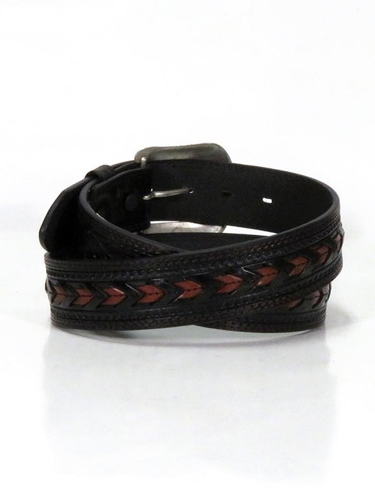 3D D7420 Mens Brown Chevron Lacing Western Leather Belt Black BACK