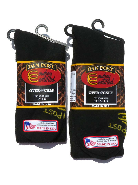 Dan Post Mens Over The Calf Black Boot Socks