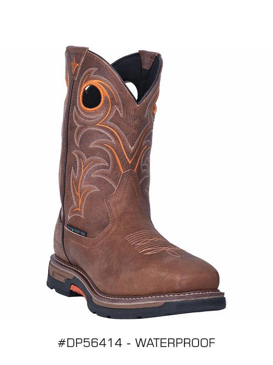 Dan Post DP56414 Mens Storms Eye Waterproof Square Toe Boot Brown Work Boots