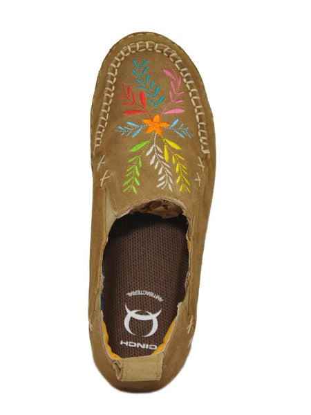 Cinch CCW3021 Womens Embroidered Slip On Shoes TAN Top View