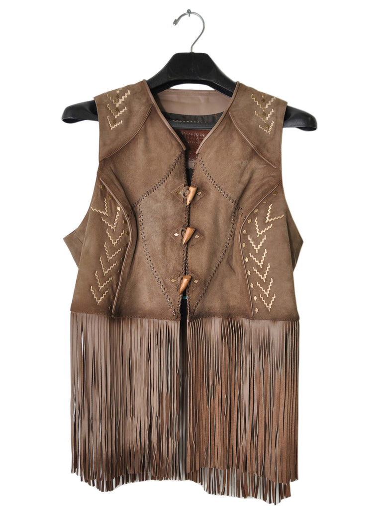 Corral Womens Fringe Brown sheep Leather Vest J3048