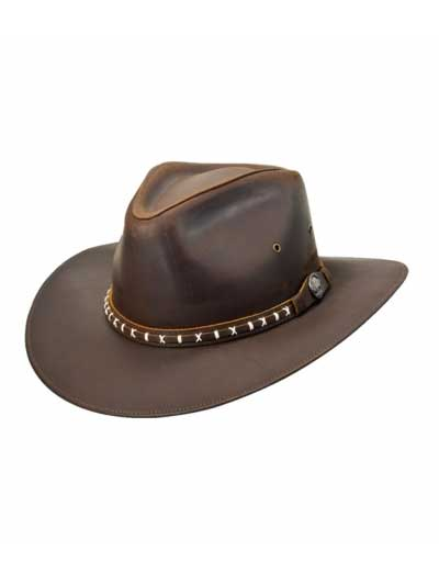 Dallas Aussie II Brown Unisex Leather Hat