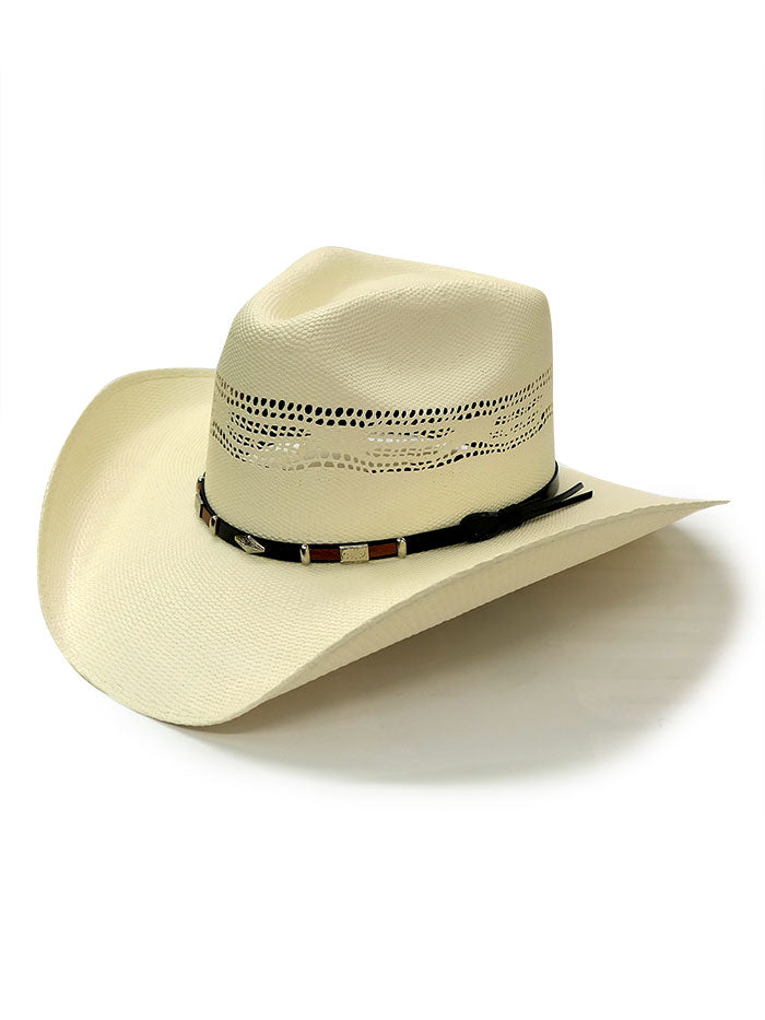Dallas Hats PHI-2 Silver Concho Hatband Bangora Straw Hat Natural Side Front