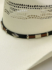 Dallas Hats PHI-2 Silver Concho Hatband Bangora Straw Hat Natural Close Up Hat band