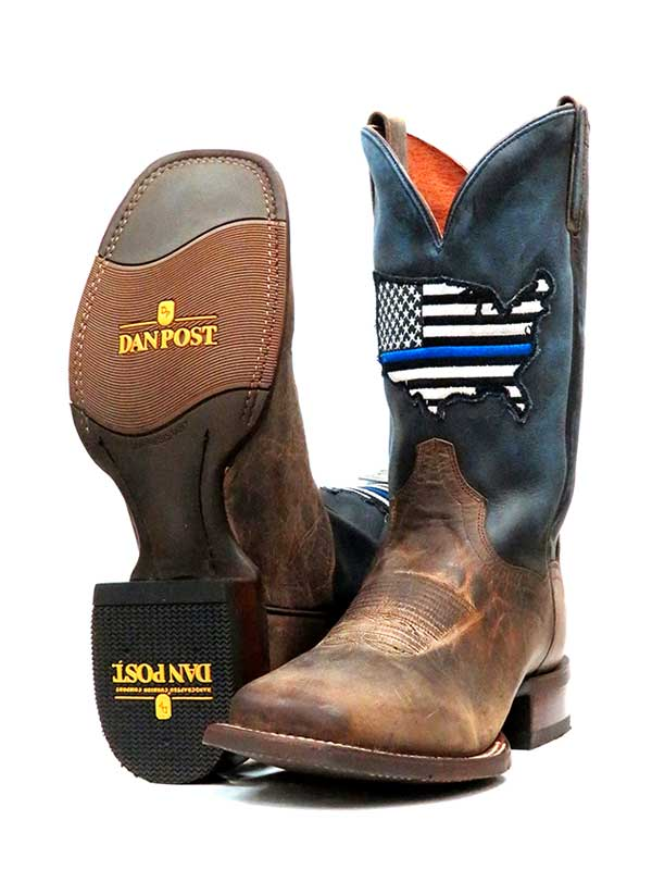 012a2356455 Dan Post Mens Thin Blue Line Sand Square Toe Cowboy Boot DP4515 - B