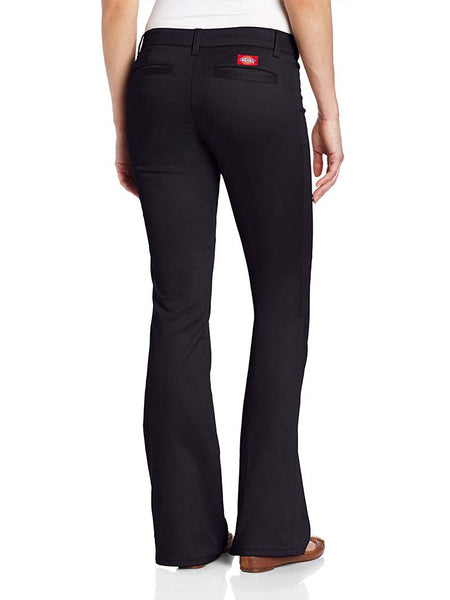 Dickies Girl Juniors Worker 2 Back Pockets Bootcut Pant N882-BLK Black Back