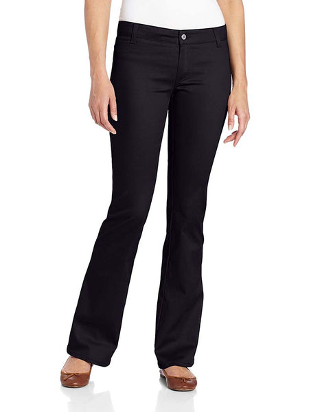 Dickies Girl Juniors Worker 2 Back Pockets Bootcut Pant N882-BLK Black Front
